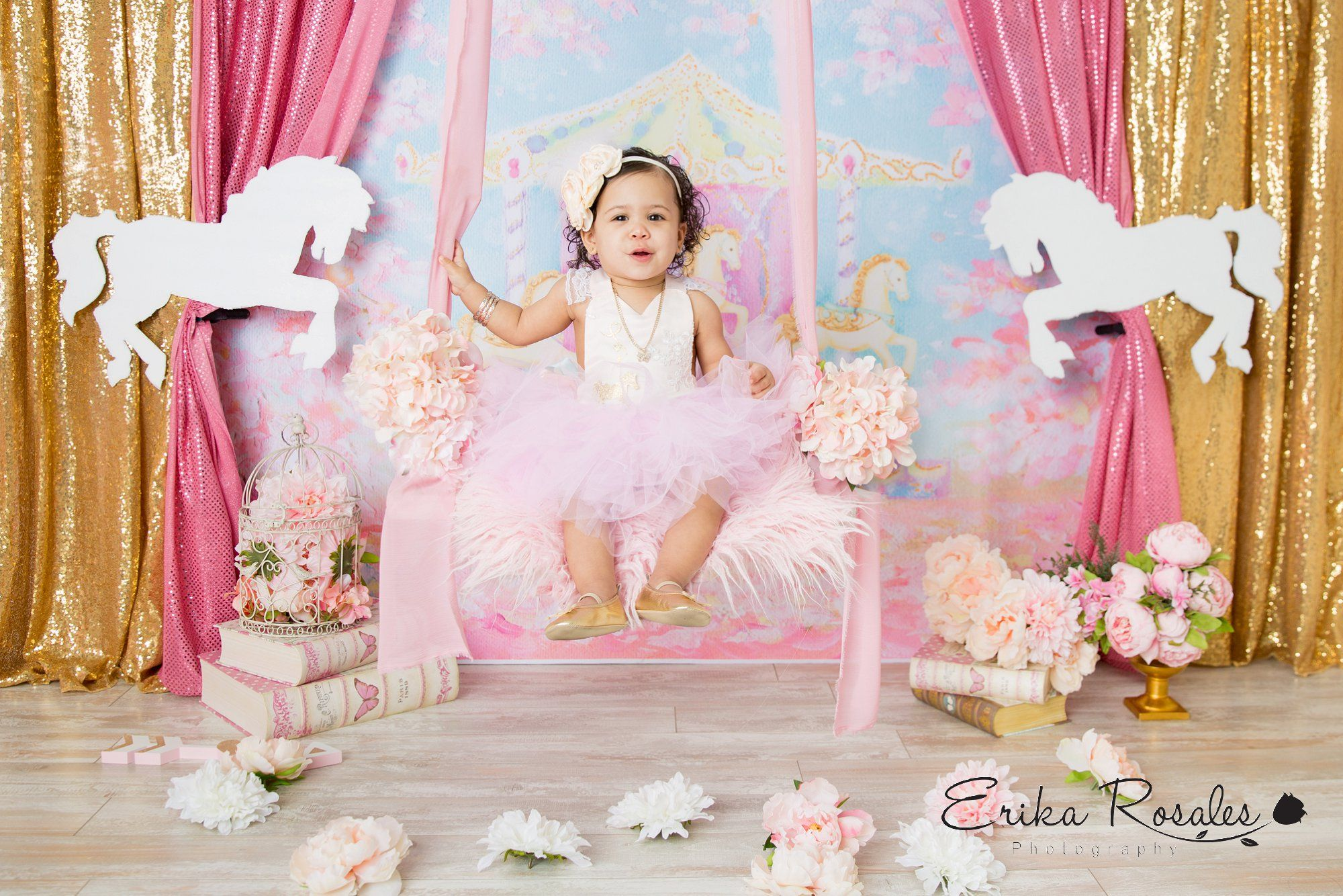 Carousel photo session first birthday with swing flower pink white carousel photo session first birthday with swing flower pink white and gold first izmirmasajfo Gallery