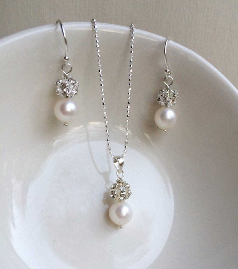 Items Similar To Freshwater Pearl And Diamante Bridal Jewellery Set Sterling Silver Simple Drop Necklace Earrings Wedding Jewelry