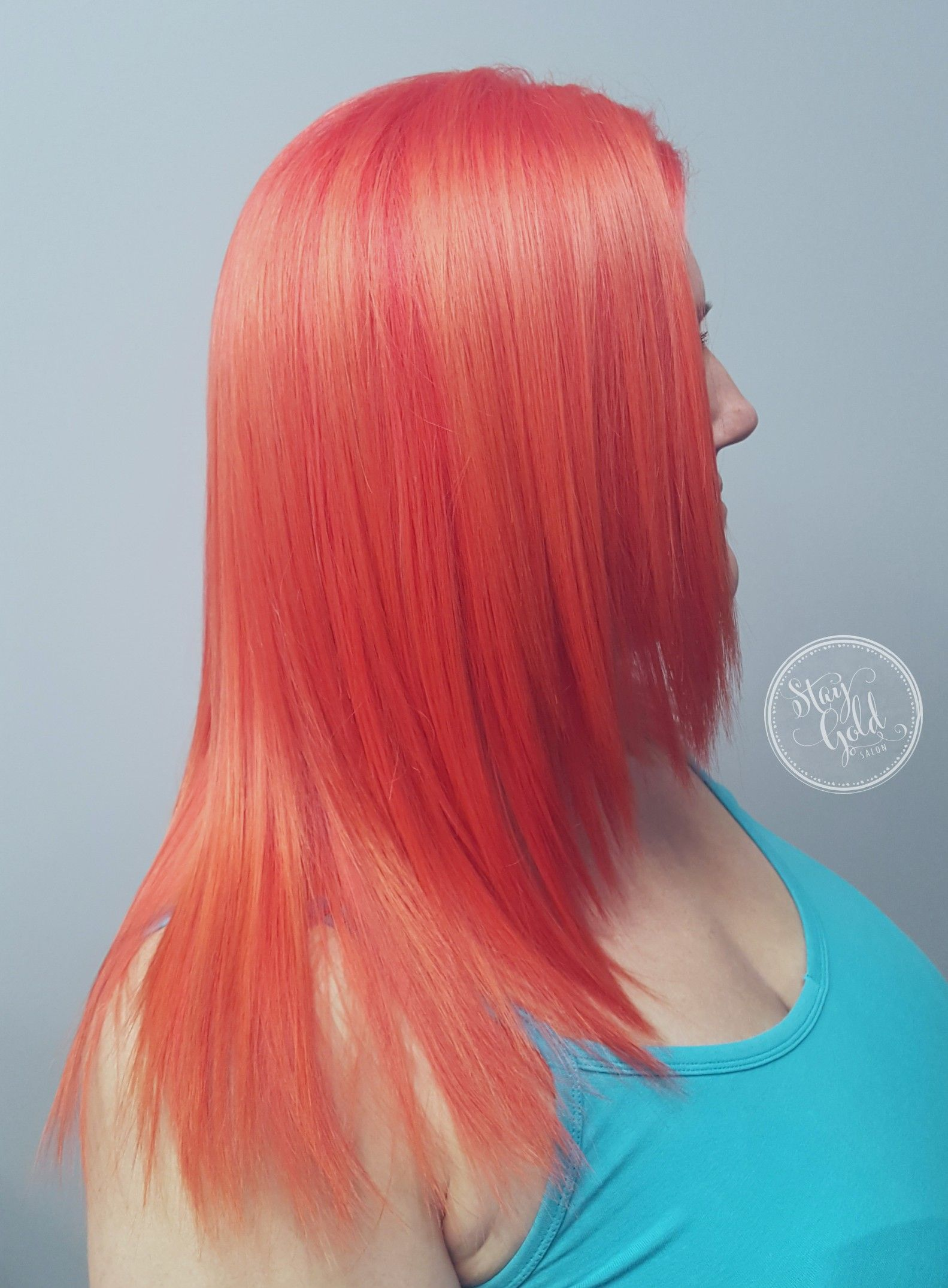 Vivid Coral Color By Julie Mueller Of Stay Gold Salon
