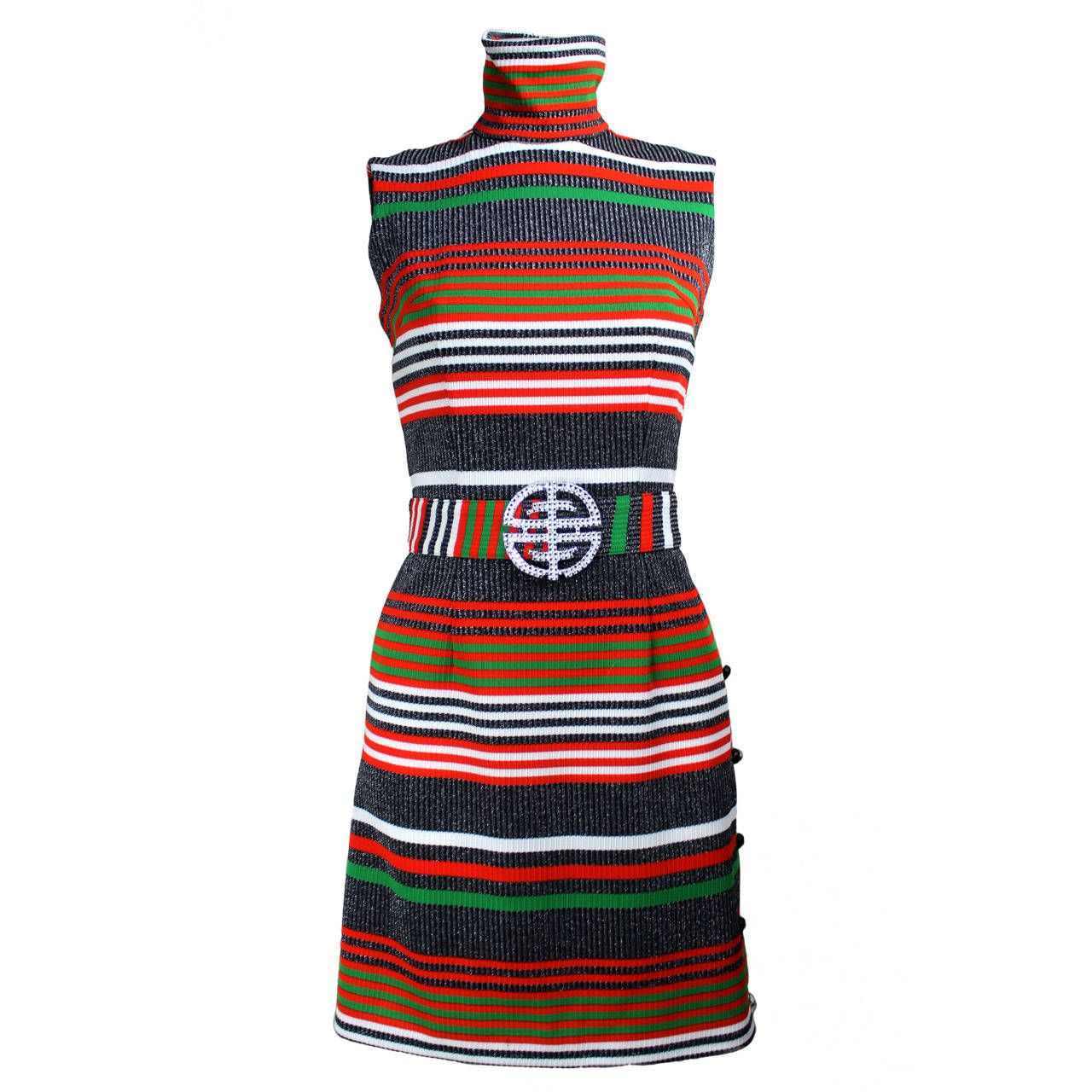 1960s Striped Lurex Dress | 1stdibs.com