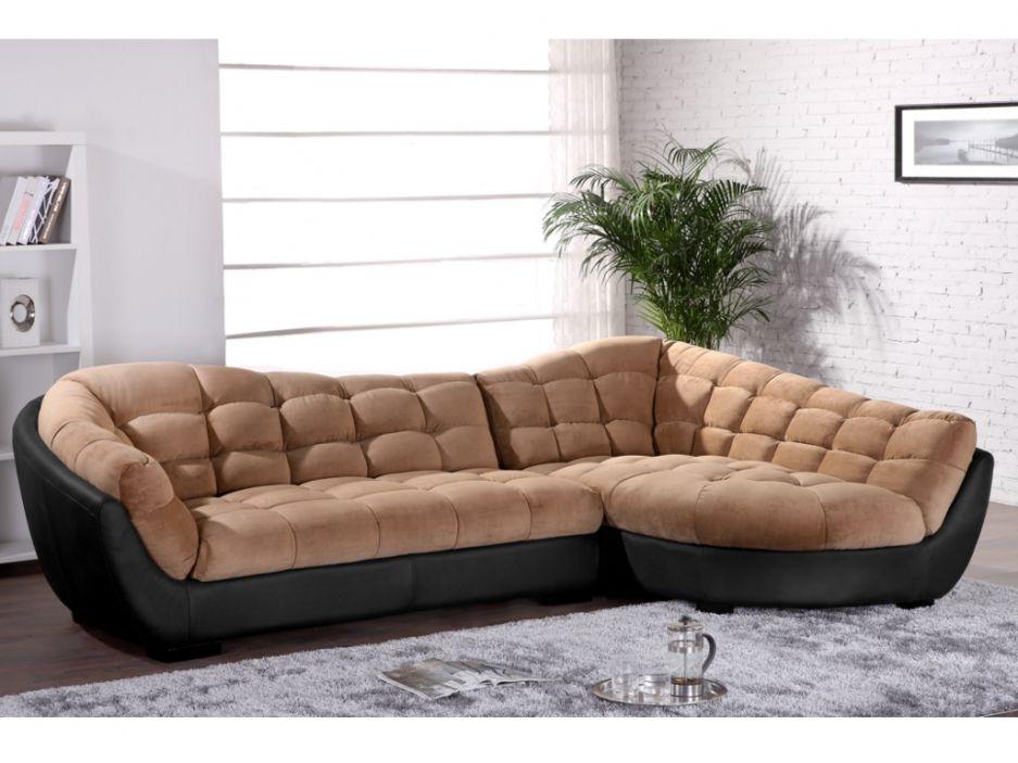Canapé d angle tissu et cuir LEANDRO Caramel et noir Angle