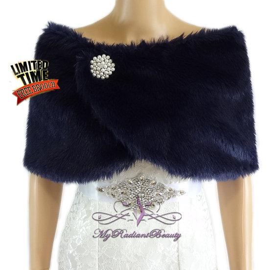 Wedding Fur Shrug Navy Blue Fur Cape Faux Fur Wrap Bridal