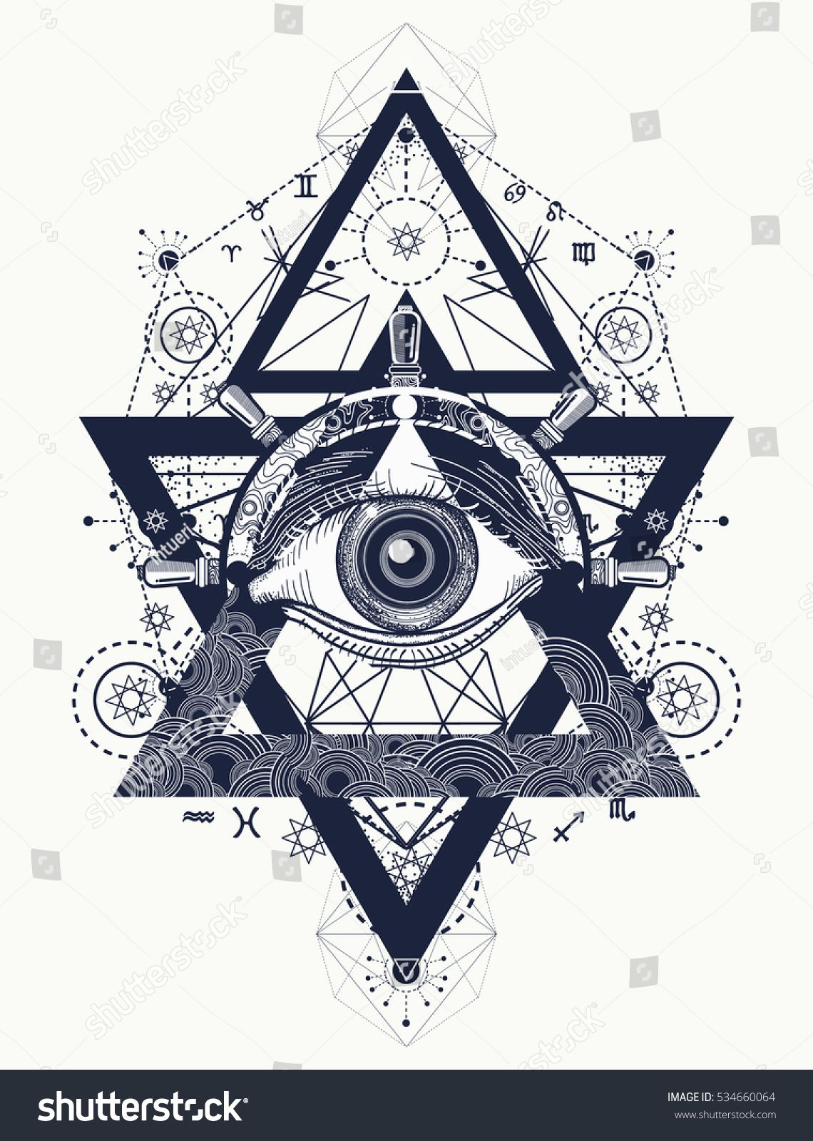 32b30407158b All seeing eye tattoo art vector. Freemason and spiritual symbols. Alchemy,  medieval religion, occultism, spirituality and esoteric tattoo.