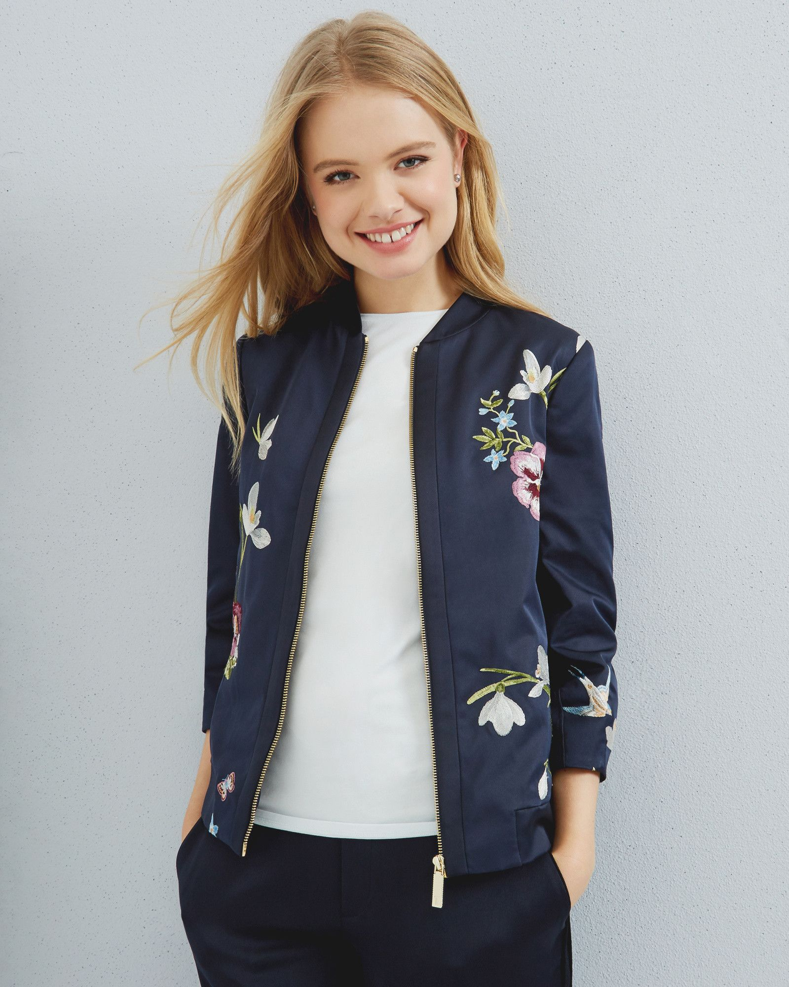 bf7371b156fbe Spring Meadow embroidered bomber jacket - Dark Blue