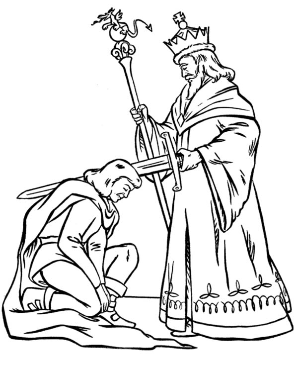 King Blessing Knight Before War In Middle Ages Coloring Page Color Luna Coloring Pages Time Worksheets Middle Ages