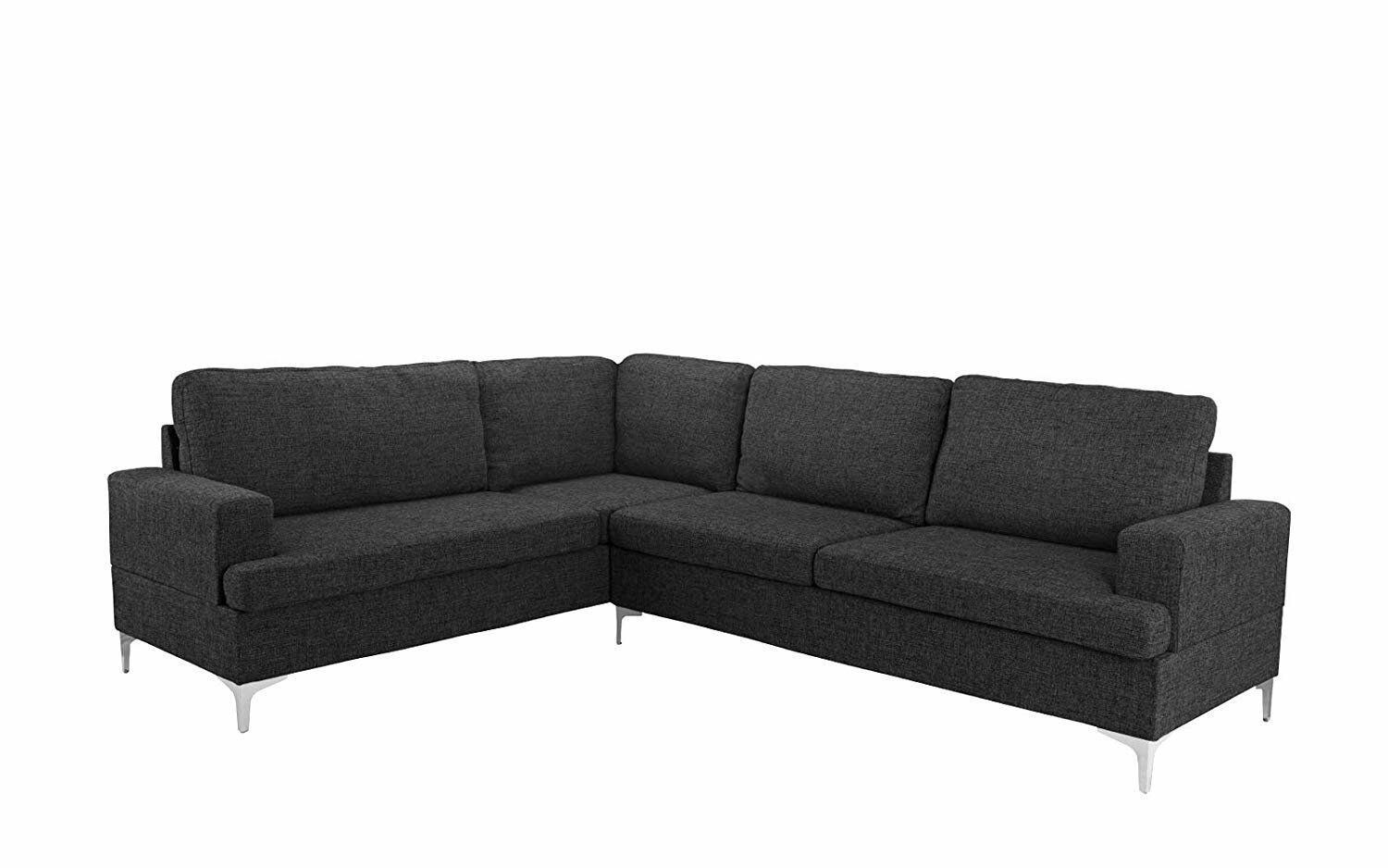 Details About Large Living Room Linen L Shape Sectional Sofa Classic L Shape Couch Dark Grey Oversized Sectional Sofa L Shaped Couch Sectional Sofa