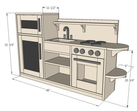 one piece play kitchen -- like the idea of it being one piece. and