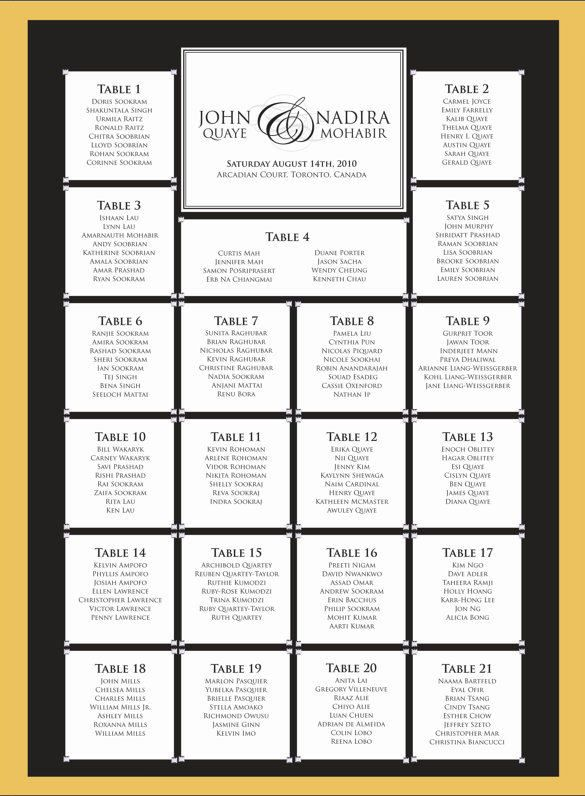 Wedding Seating Chart Template  Wedding Seating Chart And Template