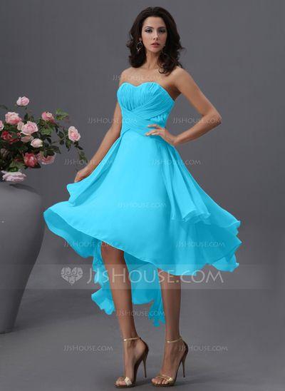 3ab6288480af A-Line/Princess Sweetheart Asymmetrical Chiffon Bridesmaid Dress With Ruffle  (007022746)
