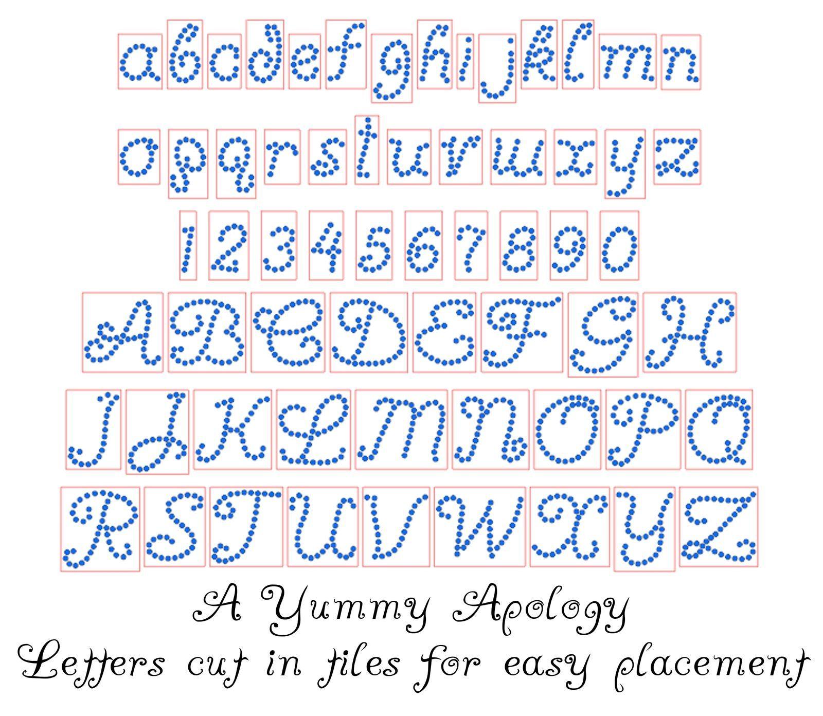 Precut Sticky Flock Hotfix Rhinestone Template Alphabet Yummy