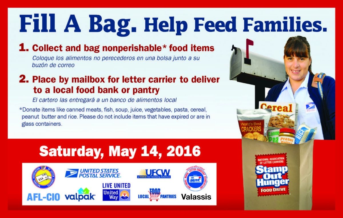 Help Us Stamp Out Hunger On Saturday May 14 Just Place A Bag Of Nonperishable Foods Next To Your Mailbox Prior To Mail De Canned Fruits Postcard Food Reviews