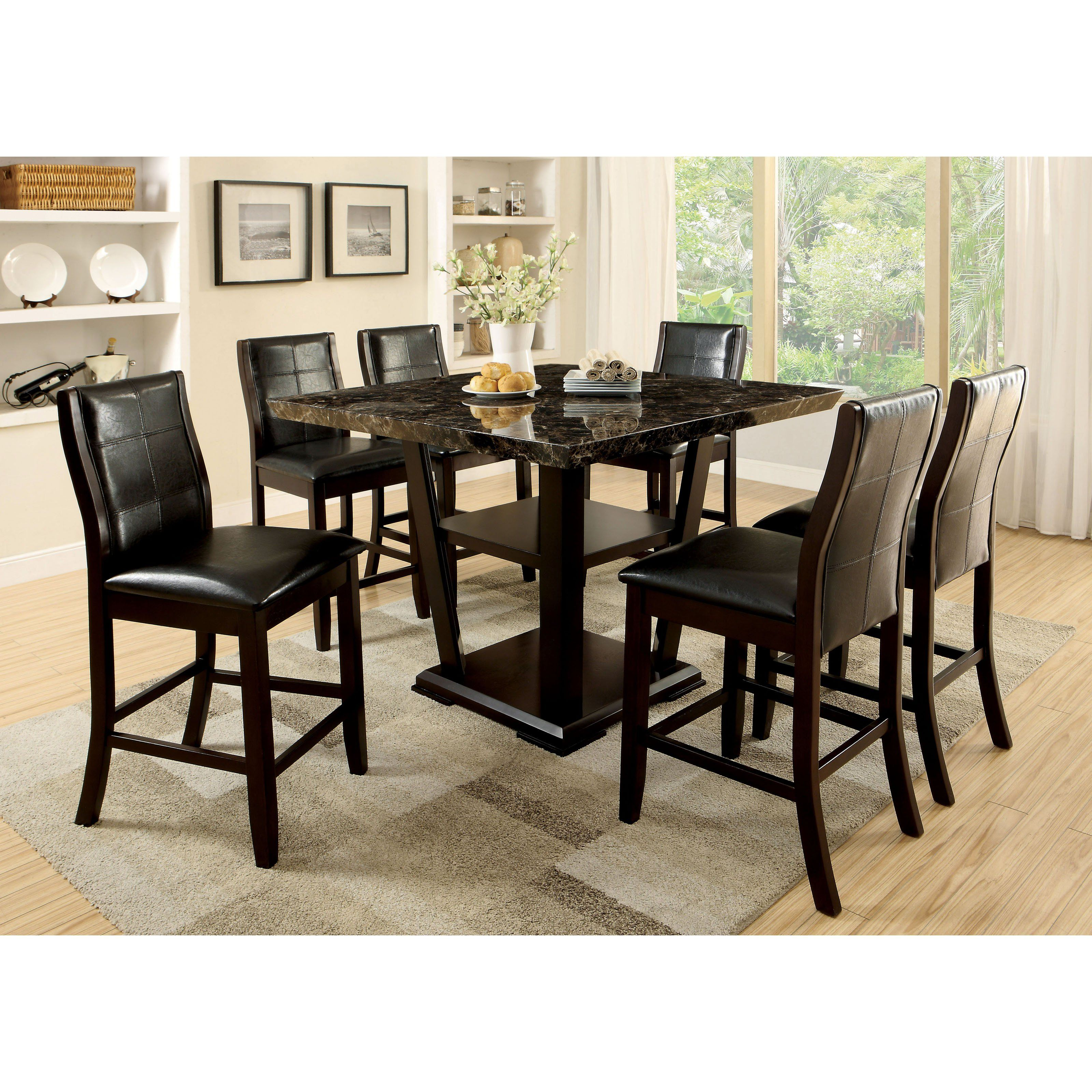 High Quality Furniture Of America Newrock 7 Piece Counter Height Faux Marble Dining  Table Set   IDF