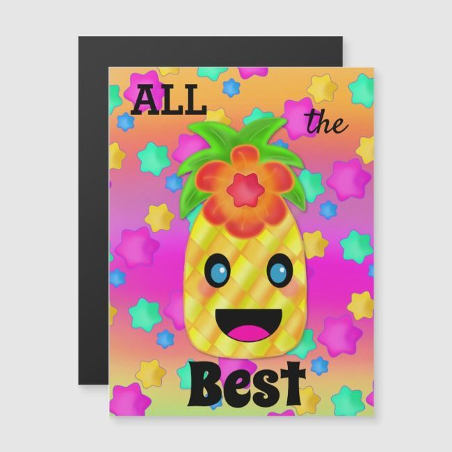 Motivation Pineapple Happy Luck Card MagnetSmile Motivation Pineapple Happy Luck Card Magnet