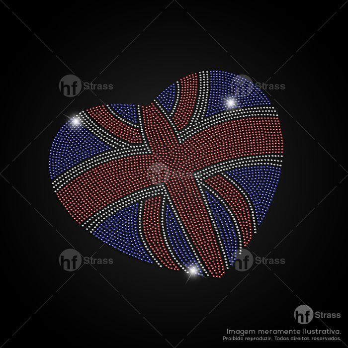 Desenho de strass Coração Inglaterra - Ref.: 1118