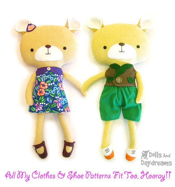 This sewing pattern is to make a child friendly stuffed toy Teddy ...