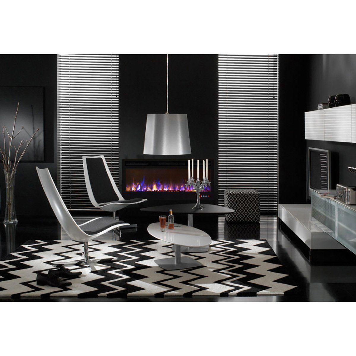 30 Black White Living Rooms That Work Their Monochrome Magic: Regal Flame Lexington 35 MultiColor Builtin Ventless