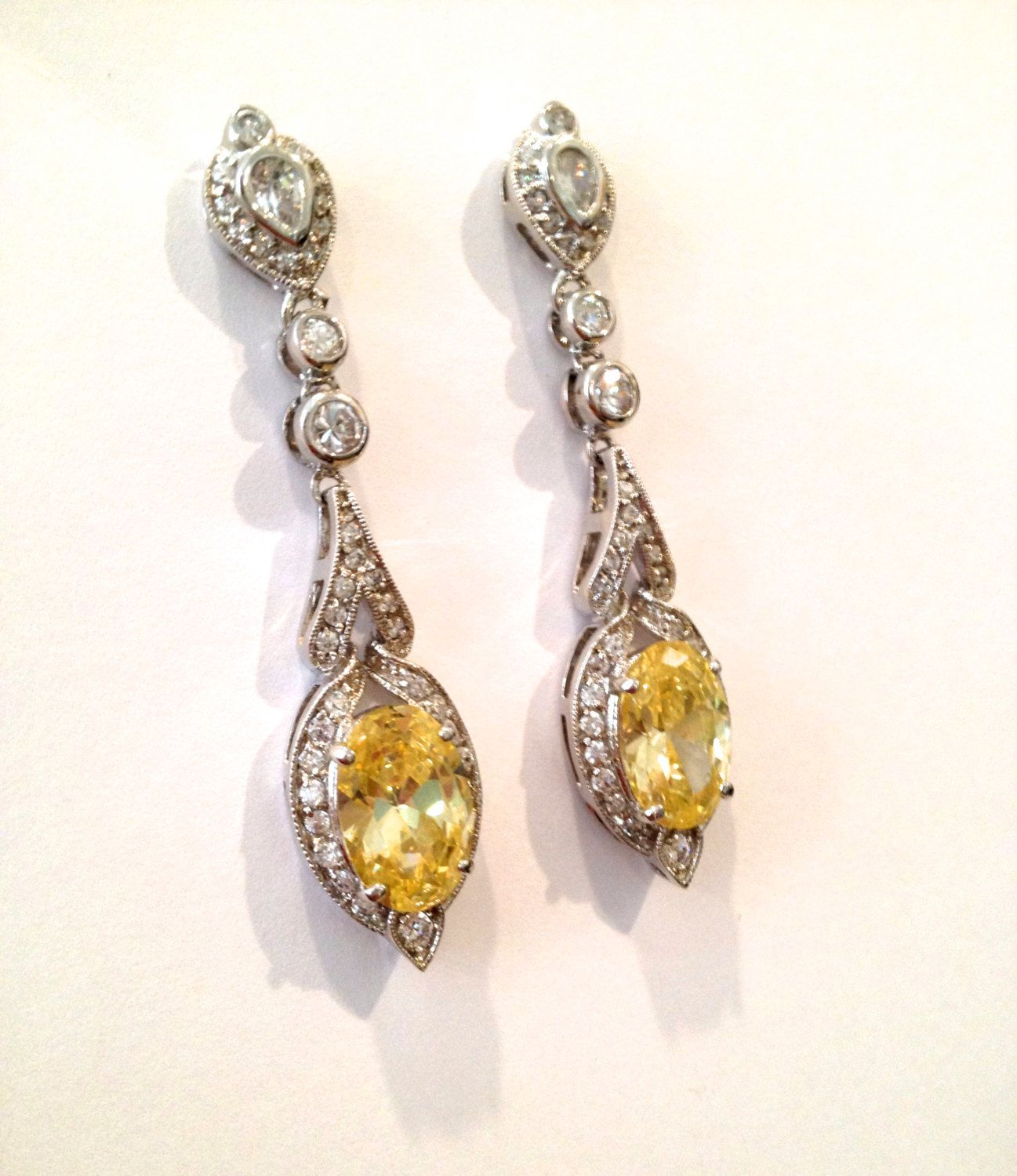 Vintage Citrine And Pave Estate Jewelry Earrings Via Etsy