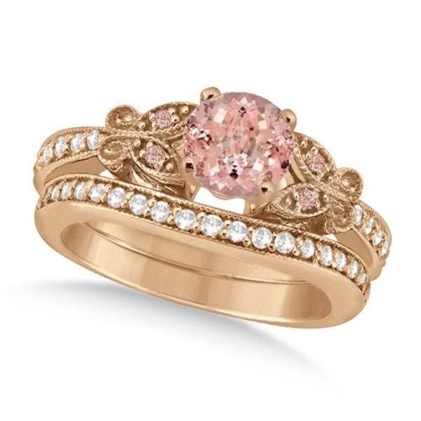 Allurez Butterfly Morganite Diamond Bridal Set 14k Rose Gold 150