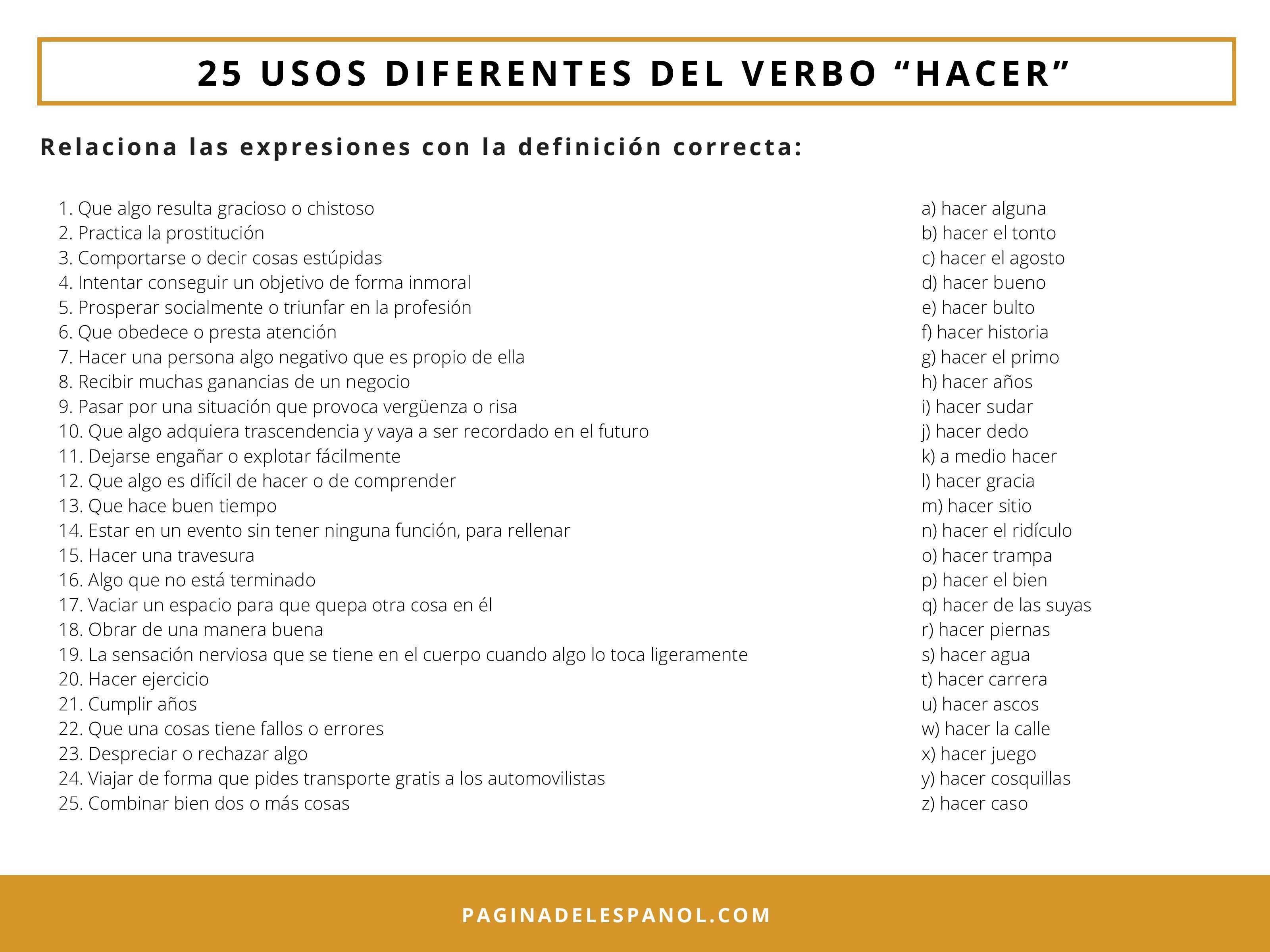 25 Usos Diferentes Del Verbo Hacer