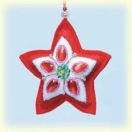 Demdaco Sparkling Noel Red Star Ornament