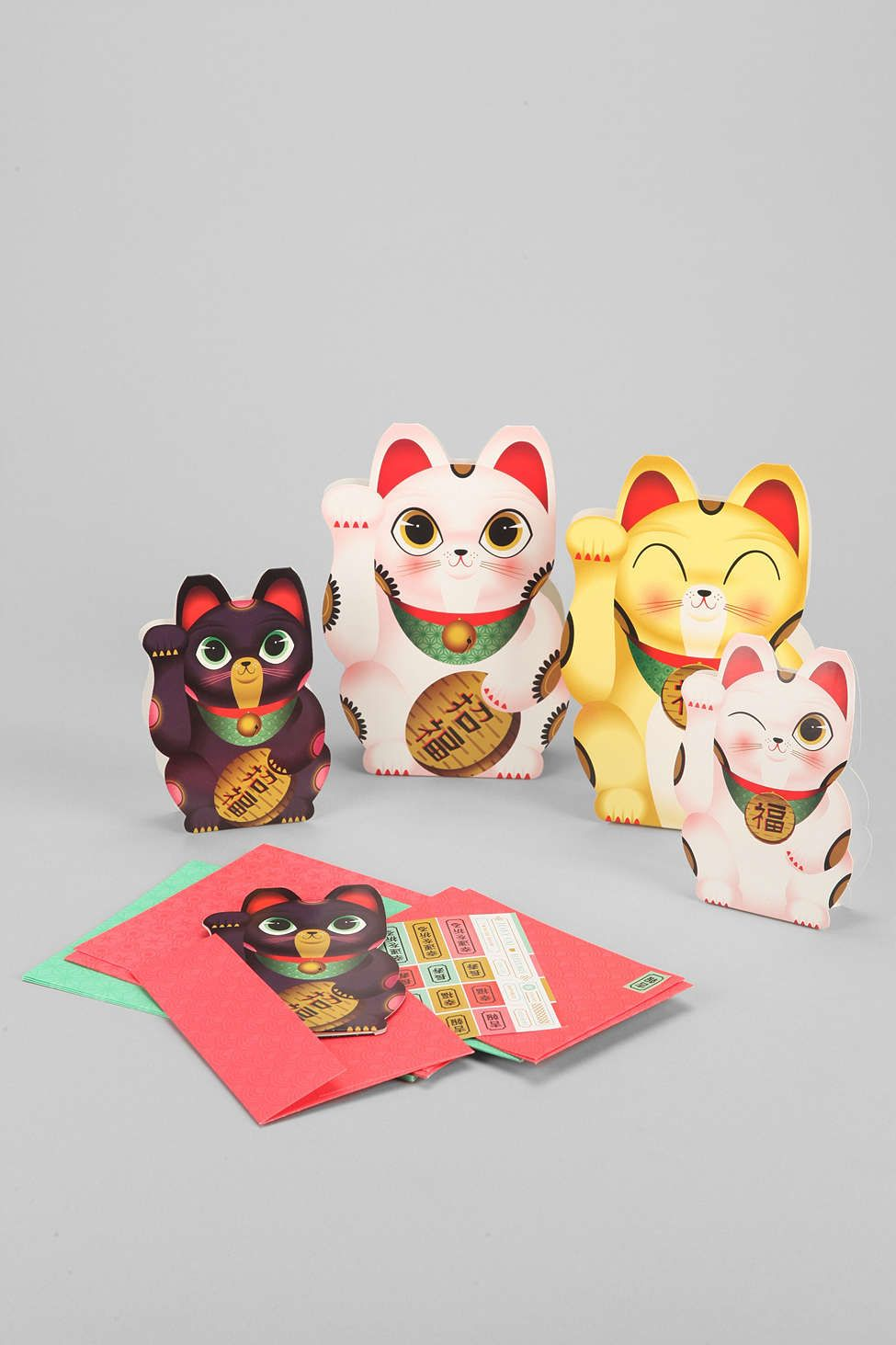 lucky cat card set  funny birthday cards funny greeting