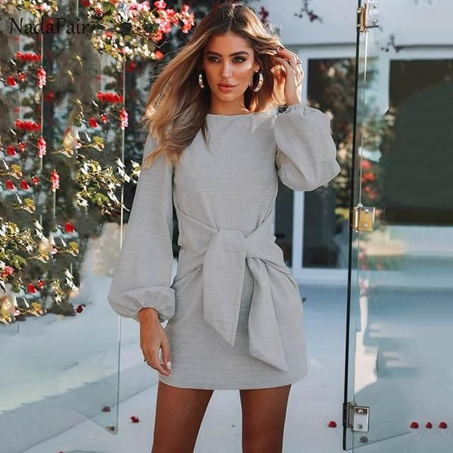 fabd21be18c4 Nadafair long puff sleeve knitted winter dresses women autumn deep v neck  off shoulder elastic waist