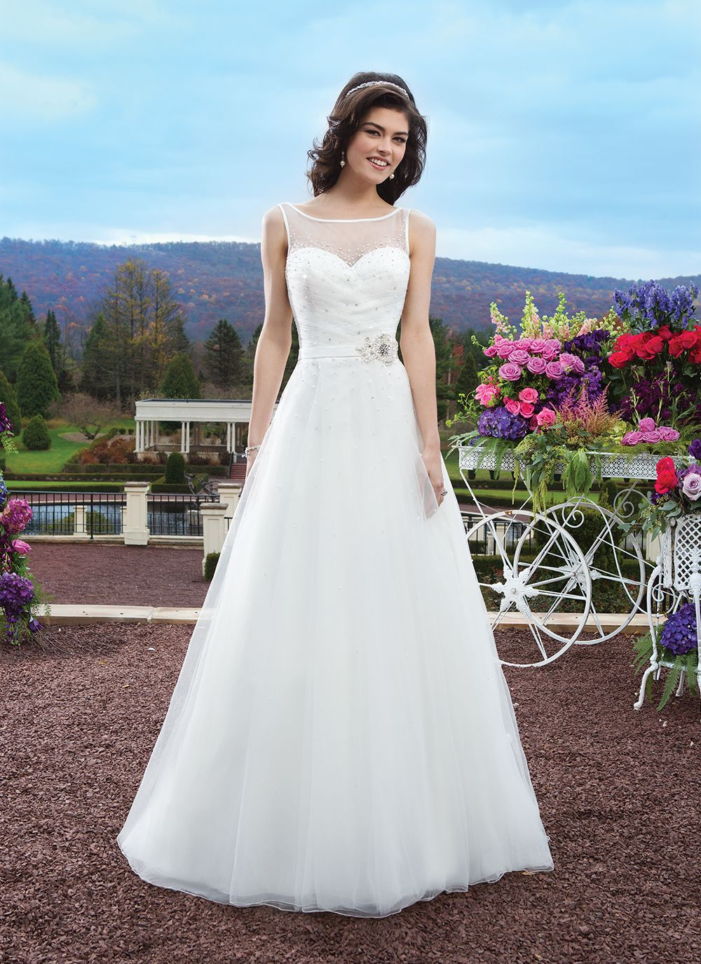 Sincerity wedding dress style tulle aline gown with an