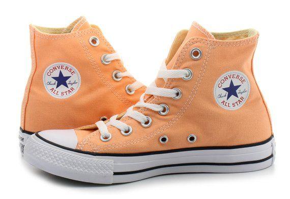 8ecd35b8ec39 Peach Converse High Top Sunset Apricot w  Swarovski Crystal Bling Wedding  Chuck Taylor Rhinestones A