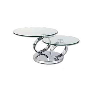 Two Level Swivel Round Glass Coffee Table Living Rooms Pinterest - Round glass coffee table with chrome legs
