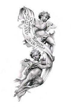 Angels Tattoo Design By Ca5per Beautiful For Passing Of Grandparents Angel Tattoo Designs Cherub Tattoo Tattoo Design Drawings