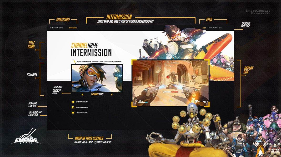 This Is A Really Elegant Complete Overlay Pack For Any Channel Designed Specifically For Overwatch And Requires No Photoshop Overlays Overwatch Empire Games