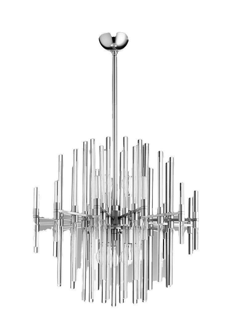 Small quebec 6 light pendant in satin nickel design by cyan design