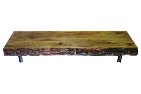 Rustikales Wandregal, Mango Holz mit Rinde, natur auf Lumizil