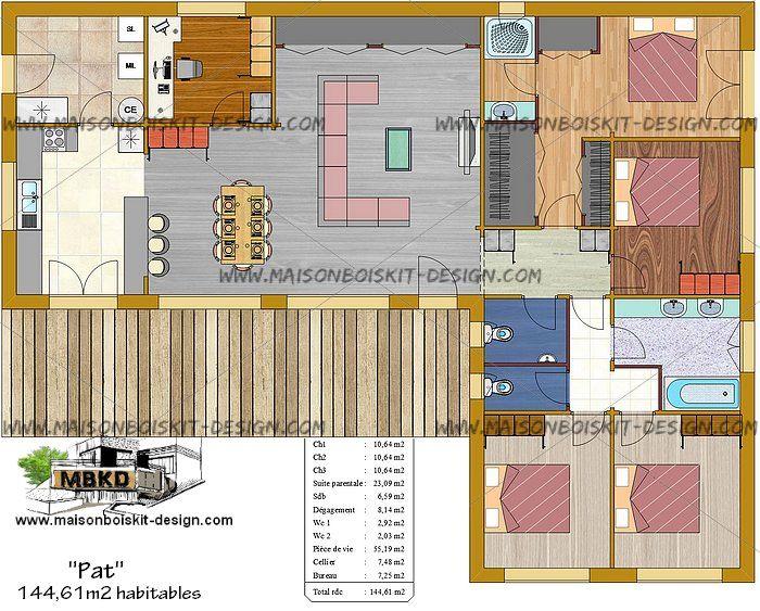 maison bois en kit moderne toit plat 4 chambres bureau maison en - plan maison une chambre