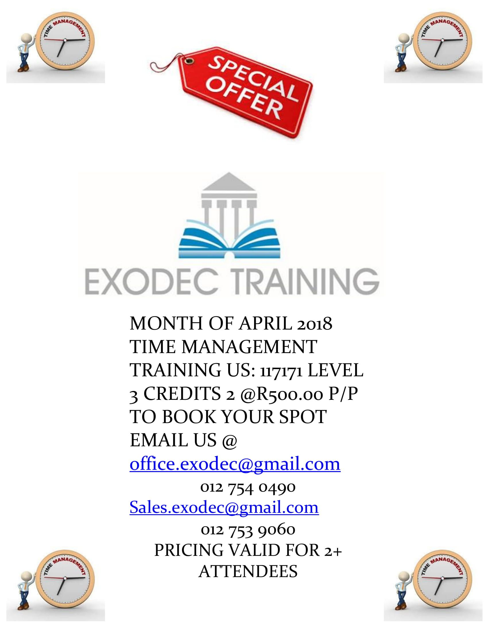 Exodec Training Promo for the Month of April is The Time