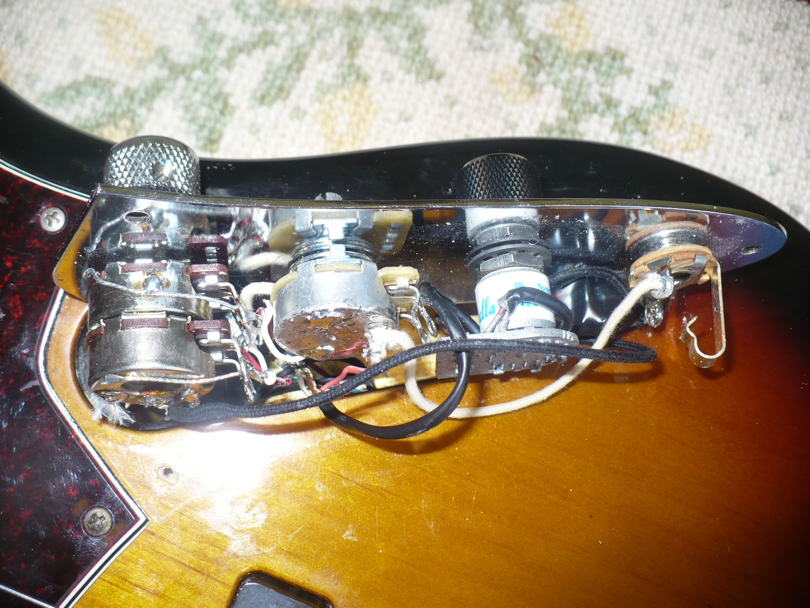 small resolution of side view of old wiring what a mess guitarrepair wiring fender jazzbass electricbass bass nyc newyork harlem