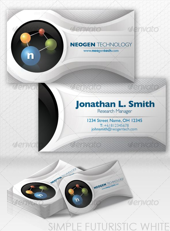 Simple White Futuristic Business Card Business Card Design