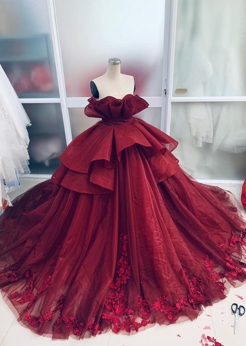 Unique Red Vintage Wedding Dress Made to Measure Wedding   Etsy ...