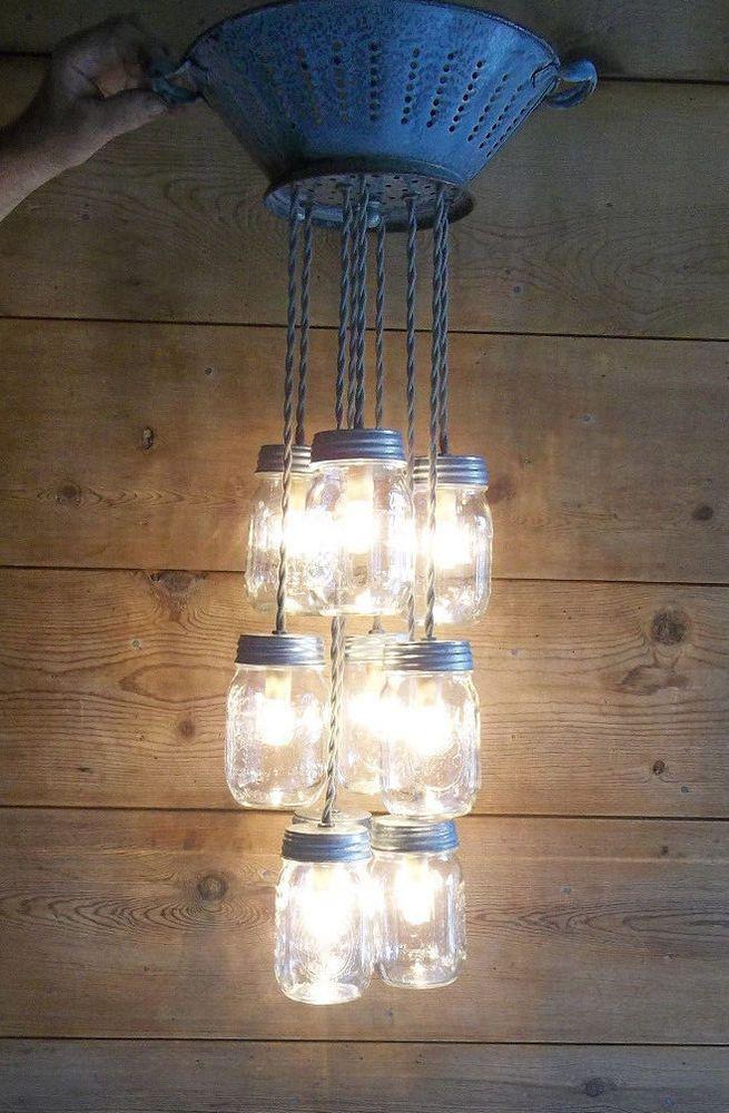 Details About Farmhouse Chandelier 3 Mason Jar Ceiling Light Fixture Milk Crate Wire Basket