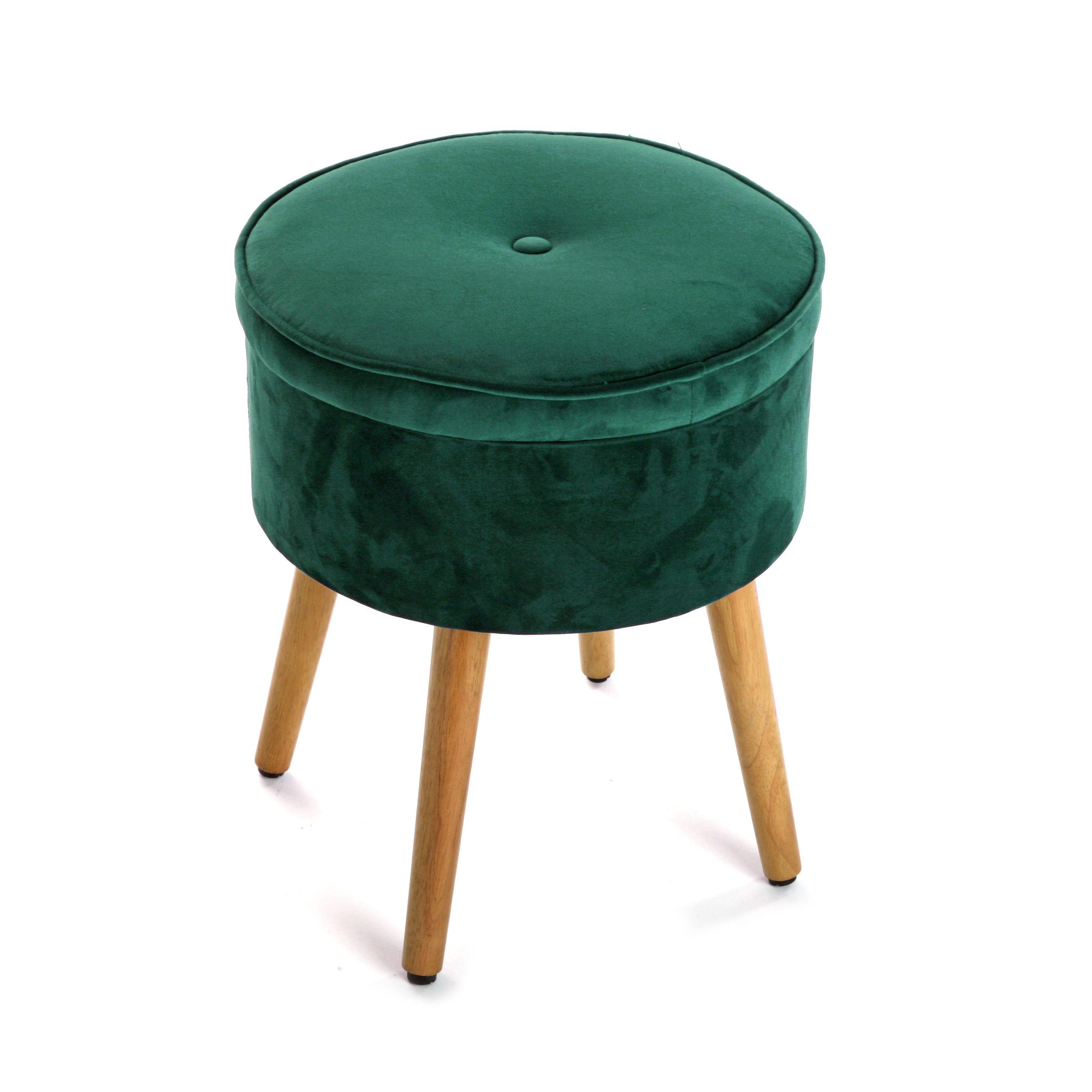Taburete Terciopelo Verde Esmeralda Con Patas De Madera Natural Taburete Muebles Verdes Interiores De Casas Pequenas