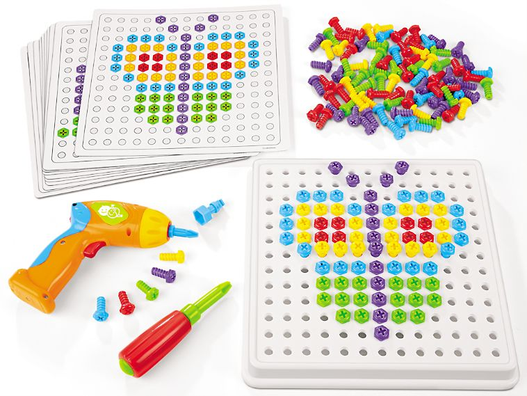 Kids enjoy tons of drilling fun with our Create & Design Drill Kit—and develop fine motor skills and creativity as they play!
