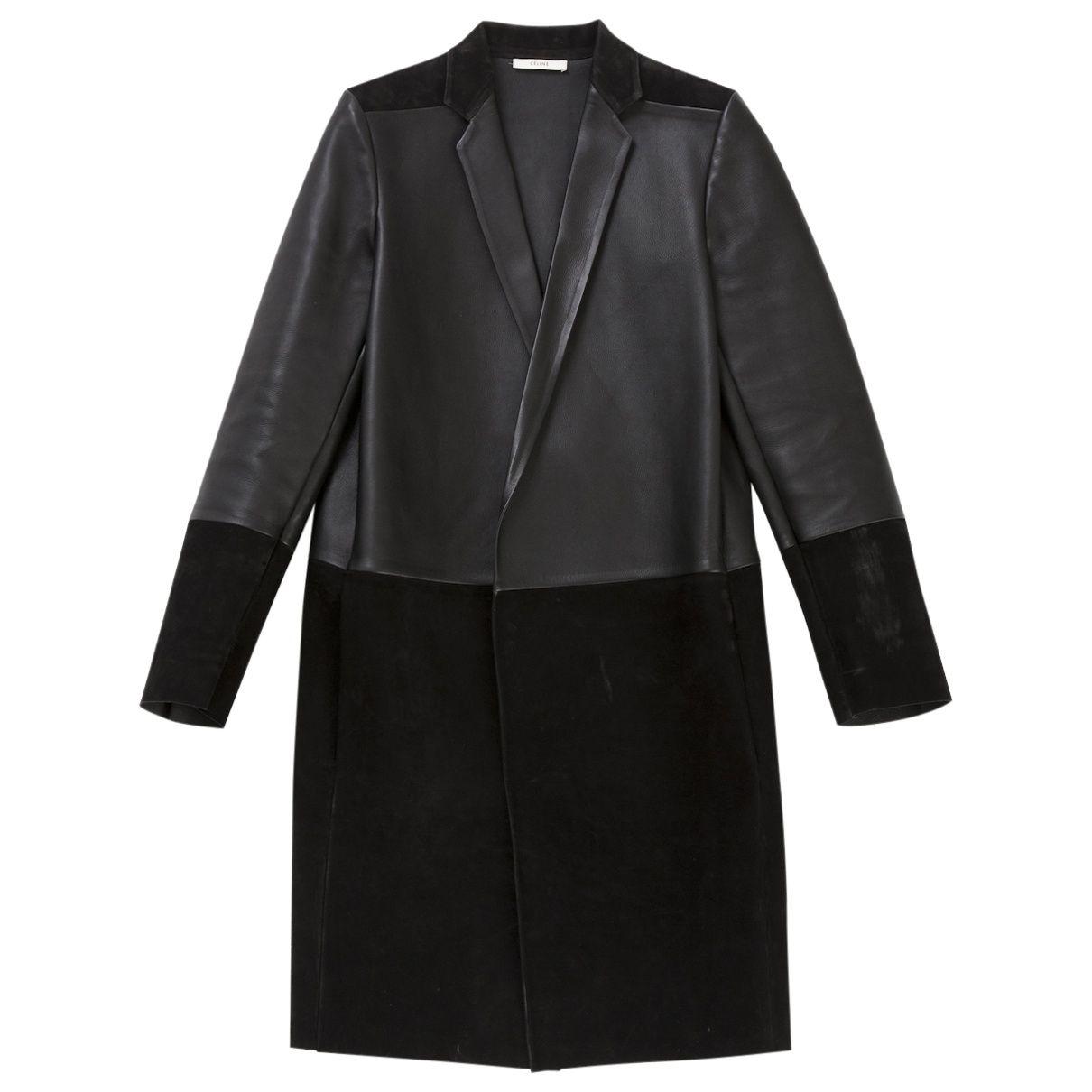 Celine Leather Bi-Materiel Coat   Vestiaire Collective