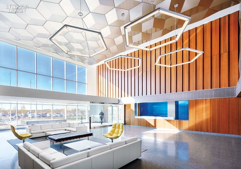 Bold Geometric Forms Take Center Stage In These 6 Forward Thinking Offices Interior Design Magazine Geometric Interior Design Top Interior Design Firms