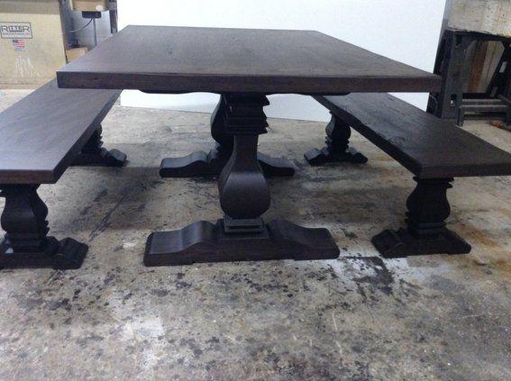 Custom Made Ebony Trestle Dining Table Benches Trestle Dining