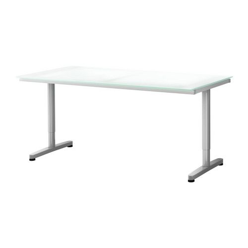 GALANT Desk - glass white, T-leg, silver color - IKEA