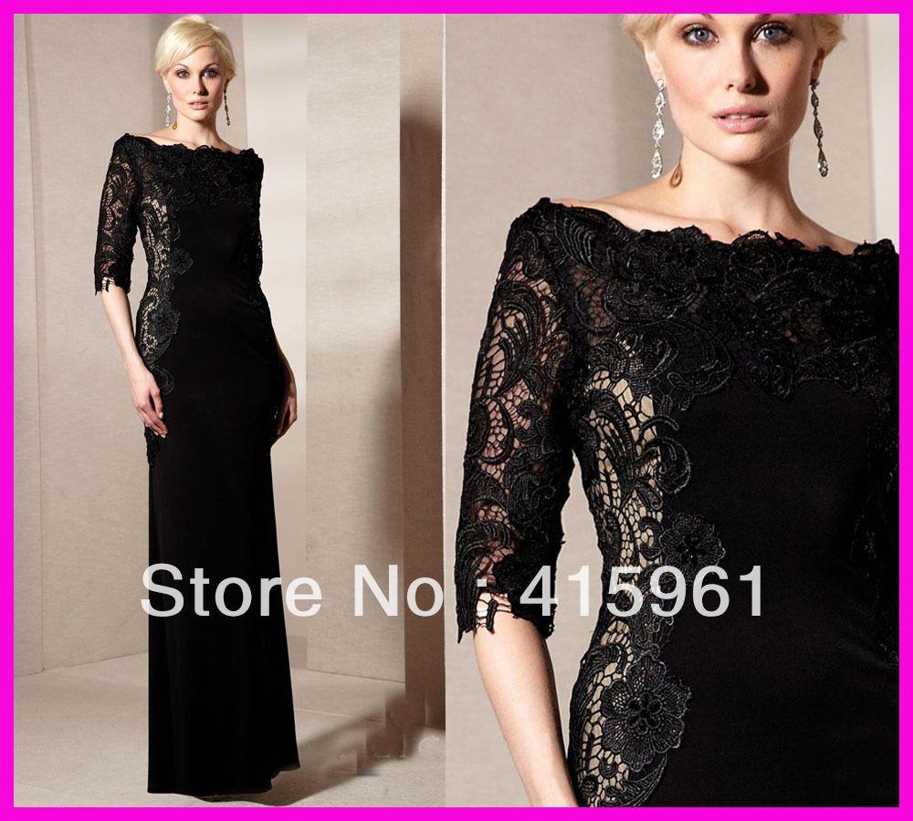Unique black lace long sleeves plus size satin mother of the bride