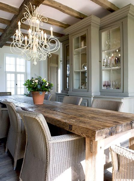 rustic dining room hutch. Rustic Dining Room With Farm House Table Hutch I