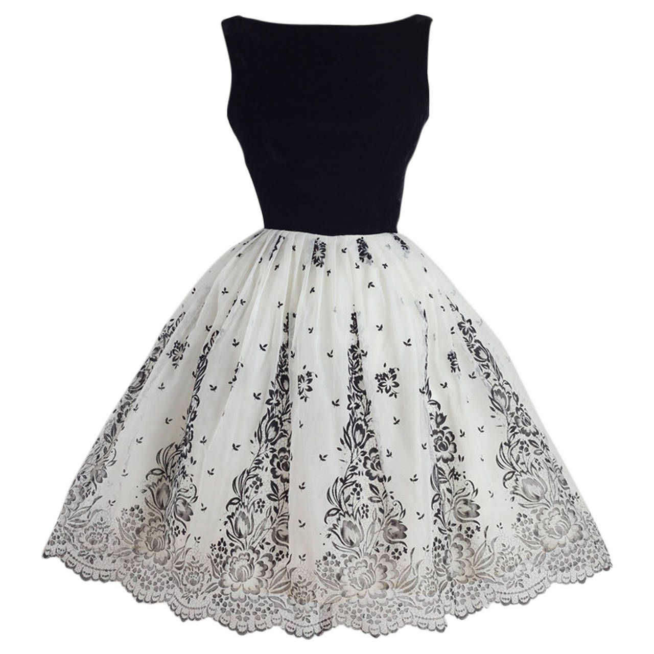 Vintage 1950s Black and White Flocked Chiffon Party Dress | Vintage ...