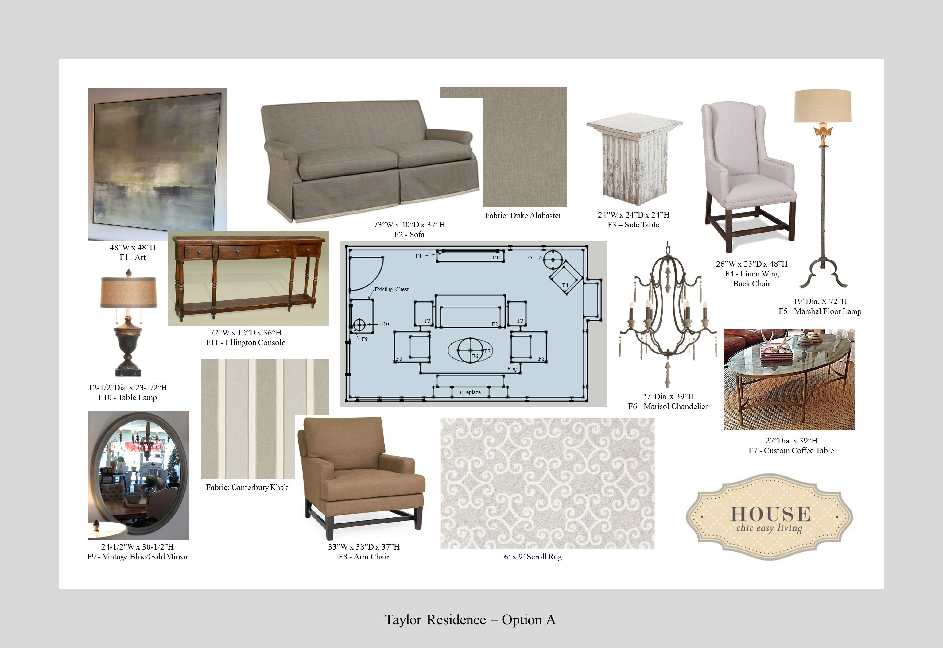 Taylor Residence Design Board - Option A. In this formal living room ...