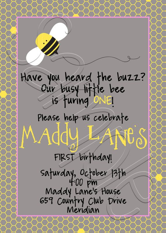 Printable bumble bee birthday party invitation bumble bee birthday printable bumble bee birthday party invitation filmwisefo Images